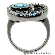 """eautiful 925 Sterling Silver Ring with Blue Topaz and White Sapphire (Size 9.25"""")"""