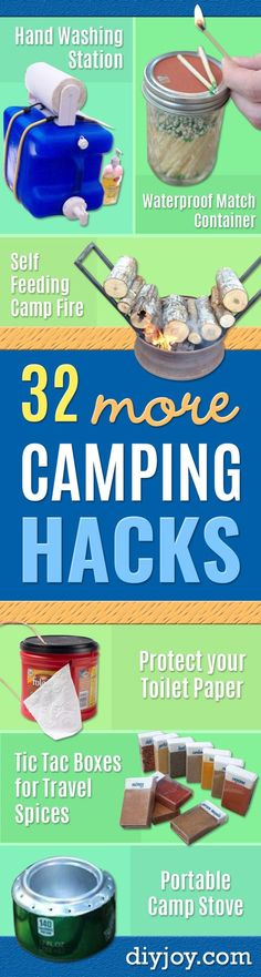 DIY Camping Hacks - Easy Tips and Tricks, Recipes for Camping - Gear Ideas, Cheap Camping Supplies, Tutorials for Making Quick Camping Food, Fire Starters, Gear Holders and More http://diyjoy.com/camping-hacks