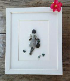 Pebble art woman Woman gift Wall art home decor unique