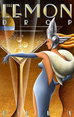 Lemon Drop by M. Iris print on 330 GSM Somerset paper printed with archival inks. Signed and numbered at bottom right. Limited edition of Paper size is x Dimensions refer to image size. Art Deco Artwork, Art Deco Paintings, Art Deco Posters, Cool Posters, Retro Kunst, Retro Art, Vintage Art, Art Deco Illustration, Art Nouveau