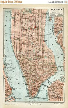 ON SALE Instant Download New York City Map late 1800s 400 Dpi