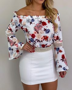 Off Shoulder Flower Blouse with Wide Cuffs – Fashion Wigs Look Fashion, Fashion Outfits, Womens Fashion, Fashion Trends, Fashion Edgy, Fashion Spring, Fashion 2018, Fashion Styles, Latest Fashion
