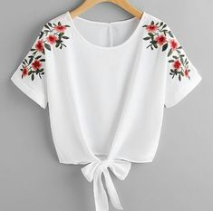SheIn offers Flower Embroidery Kno - French Shirt - Ideas of French Shirt - Shop Flower Embroidery Knot Front Top online. SheIn offers Flower Embroidery Knot Front Top & more to fit your fashionable needs. Girls Fashion Clothes, Teen Fashion Outfits, Trendy Outfits, Girl Fashion, Girl Outfits, Womens Fashion, Fashion Dresses, Fashion Top, Fashion Styles