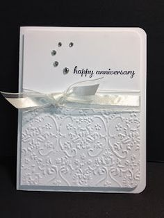 Grab your favorite embossing folder and make a super quick anniversary card.  I was on Split Coast Stampers and I ran across a card I th...