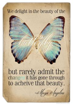 """We delight in the beauty of the butterfly, but rarely admit the change it had to go through to acheive that beauty."" ~Maya Angelou Love this quote:) Change Quotes, Quotes To Live By, Me Quotes, Qoutes, Revenge Quotes, Funny Quotes, Courage Quotes, Inspire Quotes, Wisdom Quotes"