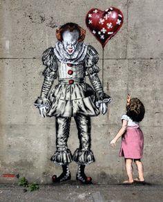 Halloween Street Art and Graffiti - Evil clown by JPS and Bill Skarsgård art art graffiti art quotes Banksy Graffiti, Street Art Banksy, Banksy Girl, Arte Banksy, Banksy Artwork, Bansky, Graffiti Lettering, Graffiti Artists, Best Street Art