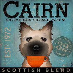 Cairn Terrier Coffee company original graphic by geministudio, $80.00