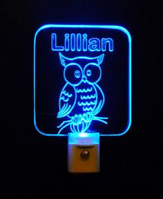 #Kids Personalized #Owl LED #NightLight, Custom with Name, 3D #engraved, Multiple Colored LED Lights #uniqueledproducts #personalizedgift #LED #CLEVELAND