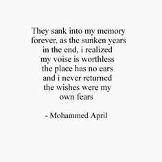 Mohammed April | #poems #quotes #writings #poetry #lines #depth #wallpapers #sadness #brokenness #novels #april #mohammedapril #love  Poetry by mohammed april