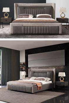 Luxury Bedroom Design, Bedroom Bed Design, Bedroom Interiors, Bed Headboard Design, Headboards For Beds, Living Room Furniture Layout, Bedroom Furniture Sets, Bed Designs With Storage, Double Bed Designs