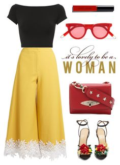 """Yellow Trousers"" by enamorado-dina ❤ liked on Polyvore featuring Sara Battaglia, Helmut Lang, Charlotte Olympia, RED Valentino, Gentle Monster and Bobbi Brown Cosmetics"