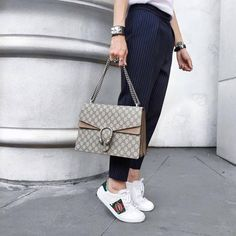 Endorse a sporty look with women's sneaker shoes from Taramay Design. Shop from our luxury sneaker collection and stylize your outfit with sneakers in white, grey and tan. Gucci Sneakers Outfit, Sneaker Outfits Women, Gucci Shoes, Office Fashion Women, Everyday Fashion, Ashley Graham Style, Gucci Bags, Gucci Gucci, Green Wedding Shoes