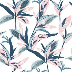 Tropical leaves on pastel mood Seamless graphic design with amazing palms.vector on white background design Tropical Colors, Tropical Leaves, Pastel Design, Motif Floral, Free Vector Art, Traditional Design, Cute Wallpapers, Images, Graphic Design