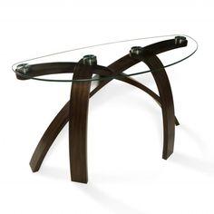 Chaise Sofa Magnussen Home Furnishings uAllure u Modern Glass top Arch Legged Sofa Table Brown