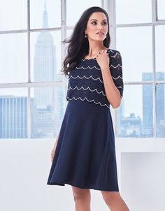 ¾ Sleeve Scalloped Lace Maternity Dress | Seraphine
