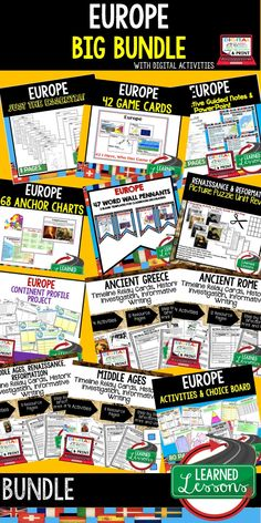 World Geography Lessons, World Geography Activities, Middle School Teacher, High School Teacher, Europe Anchor Charts, Europe Notebooking, Europe PowerPoints, Europe Guided Notes, Europe Profile, Europe Game Cards, Europe Activities, Europe Choice Board, Europe Google Classroom, Europe Digital Graphic Organizers, Europe Word Wall, Europe Outline, People and Resources Assessments