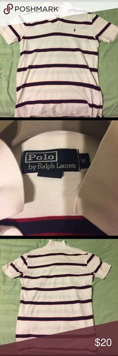 🎉STILL AVAILABLE🎉 Polo by Ralph Lauren polo Size medium. Has been worn before but still in great condition. White with navy and burgundy stripes. Polo by Ralph Lauren Shirts Polos