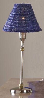 Nickelplate Blue Beaded Lamp and Shade