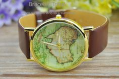 Brown leather bracelet Map of Australia watch by BraceletTribal, $5.99 Beautiful handmade leather bracelet