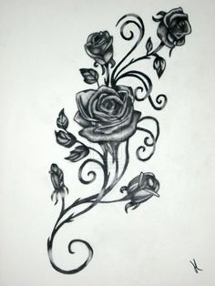 Roses with Vines drawing | Rose Vine Drawing Black rose vine tattoos. Possible tattoo template.