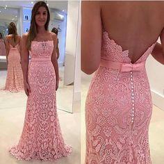 Vestido longo de renda rosa. #perfectdress
