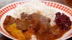 Jamaican curry goat - jamaicansk geitegryte med karri Jamaican Curry Goat, Chutney, Scotch, Beef, Recipes, Gull, Foods, Food Food, Plaid