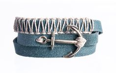 twisted bracelet with silver plated metal anchor and wrapped around macrame weaved.  brush style brown  leather  jewelry gift  art hand made