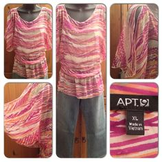 Pullover colorful top. 💲 Offers through offer button only 🚫 No Negotiating in comments 🚫 No Trades 🚫 PayPal ✅ Posh Pay  ✅Negotiable    📷 All pics are taken by me 😎  All designer items are authentic.😍  Pullover colorful top. Butterfly sleeve, gathered waist. Tank shell attached. Tops