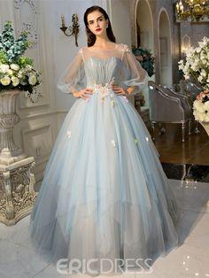 Ericdress pala bola vestido mangas largas perlas pliegues de novia vestido de quinceañera