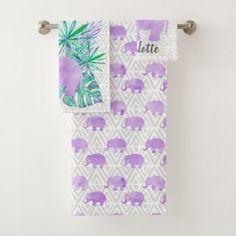 Watercolor Elephant Jungle Tropical Customizable Bath Towel Set - girly gifts special unique gift idea custom
