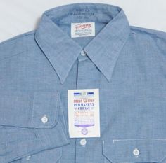 Brand new from the 70's comes this great chambray big collar work shirt.