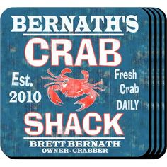 """Crab Shack Personalized Coaster Sets. The home bartender will appreciate these sets of four richly detailed, waterproof coasters, which reflect his favorite activity. Our Crab Shack Personalized Beverage Coaster Sets's personalized design is printed in full color onto a non-skid cork base and proclaims """"Fresh Crabs Daily"""". Includes 4 coasters and mahogany caddy for storage. Each coaster measures 3.75"""" x 3.75"""". Specify name and year established."""