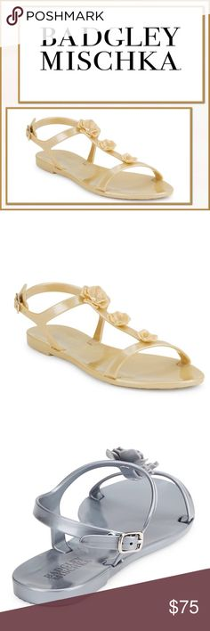 🆕 Badgley Mischka Bahama Platinum Flower Sandals 🆕NWT Badgley Mischka Bahama Platinum Flower Embellished Sandals ▪️Cute floral embellishments add feminine charm to these scrappy sandals. T-Strap.Ankle strap with buckle enclosure. ▪️Color: Platinum only (gold toned) ▪️Size: 7 US ▪️Material: Synthetic Upper, lining, and sole. ▪️Made: Imported Badgley Mischka Shoes Sandals