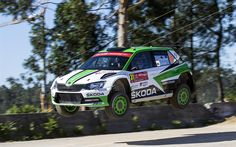 Download wallpapers Andreas Mikkelsen, 4k, WRC, rally, jump, FIA World Rally Championship, Skoda Motorsport, Skoda Fabia WRC
