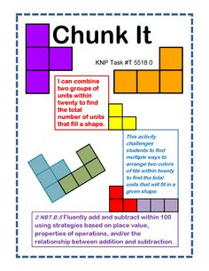 """Chunk It"" -I can combine two groups of units within twenty to find the total number of units that fill a shape. Supports learning Common Core Standards: 2.NBT.B.5 & 1.OA.B.3 [KNP Task # T 5518.0]"