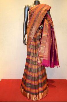 Designer Bridal Zari Brocade Kanjeevaram Silk Saree Product Code: SSJG01049