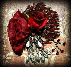 Scarlet Rose Tribal Fusion Belly Dance Hair Clip by thegypsykiss, $39.00