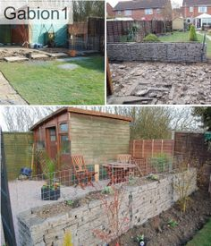 Th old patio was broken up and then used as fill for the gabion planter wall http://www.gabion1.co.uk