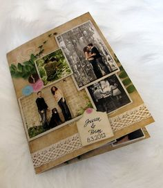 Rustic Vintage Photo Wedding Invitations -- all in one, with tear off rsvp card - (8)