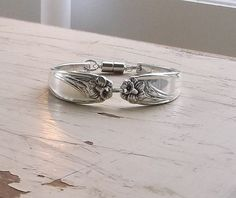 Daffodil Spoon Bracelet Silverplate Antique Jewelry Magnetic Clasp - $28