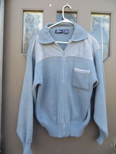 vINTAGE mens     light blue ACRYLIC with by Linsvintageboutique