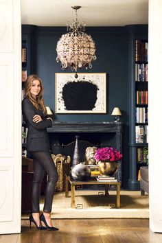 "Aerin Lauder in her Manhattan home. ""The List: Aerin Lauder's Favorite Things"" by Aerin Lauder. Aerin Lauder in her Manhattan home. The List: Aerin Lauder's Favorite Things by Aerin Lauder. Blue Rooms, Room Inspiration, Room Design, Dark Interiors, Inspiration, Blue Walls, Home, Navy Walls, Home Decor"