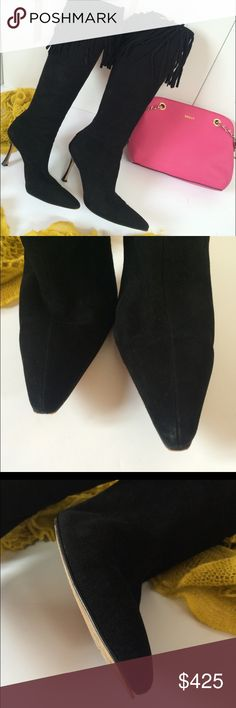 Suede Manolo boots Beautiful suede boots with Fringe details. Some wear on heel and toe as pictured Manolo Blahnik Shoes Heeled Boots