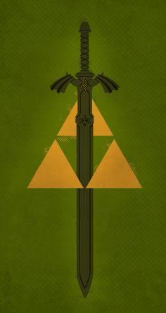 Legend of Zelda Master Sword and Triforce Minimalist Poster
