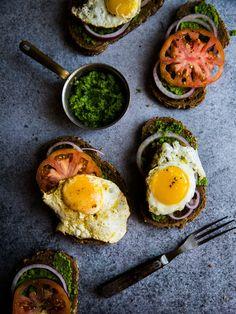 Green Chutney, Avocado, Tomatoes and Fried Egg Open Sandwich... | Journey Kitchen | Bloglovin'