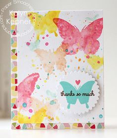 Watercolor Butterfly Thanks Card - Scrapbook.com - gorgeous watercolor butterflies made with pretty Paper Smooches stamps!