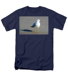 Seagull Men's T-Shirt (Regular Fit) featuring the photograph Seagull And His Shadow by Cynthia Guinn