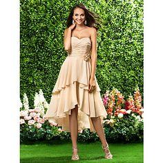 Vestido da dama de honra Assimétrico/Coquetel Chiffon Linha-A/Princesa Curação/Sem Alça Vestido – EUR € 57.57