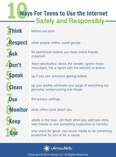 10 Internet Safety Tips for Teens and Tweens - The Wired Homeschool Clear numbered lists are often very helpful for children to learn. These ten steps are easy to understand and are very good pieces of advice. Internet Safety For Kids, Site Internet, Kids Safety, School Safety, Social Media Safety, Social Skills, Social Media Etiquette, Cyber Safety, Importance Of Time Management