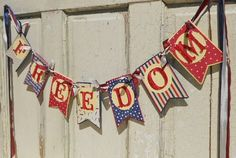 Patriotic Banner Memorial Day 4th of July by WhateversHandmades
